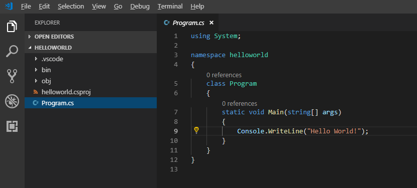 First C# VS Code console project